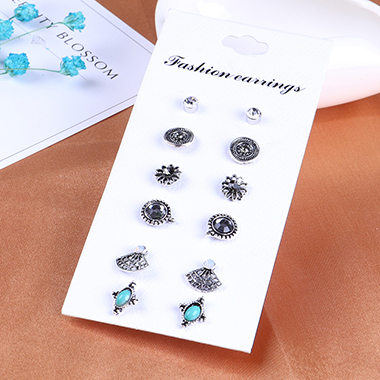 Turquoise Various Design 6 Pairs Earring Set