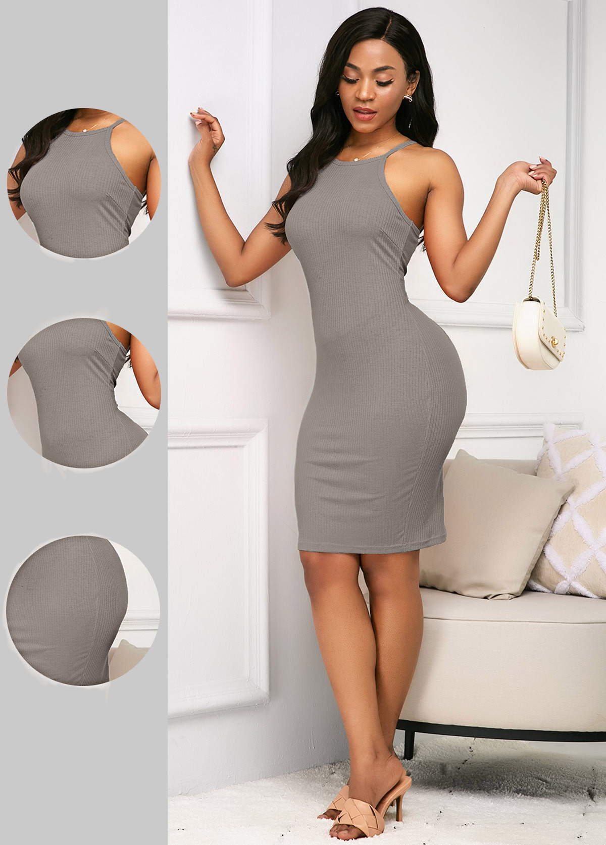 Spaghetti Strap Sleeveless Grey Sheath Dress