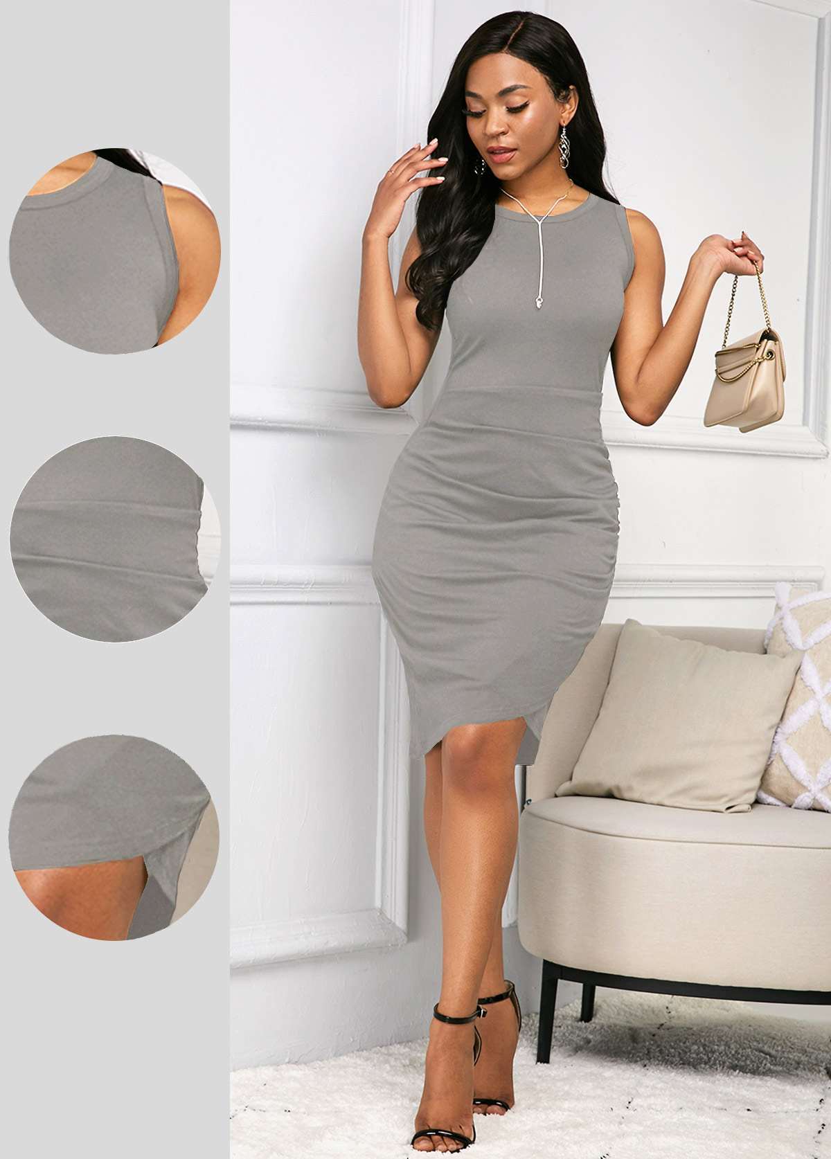 Quarter Zip Round Neck Sleeveless Dress