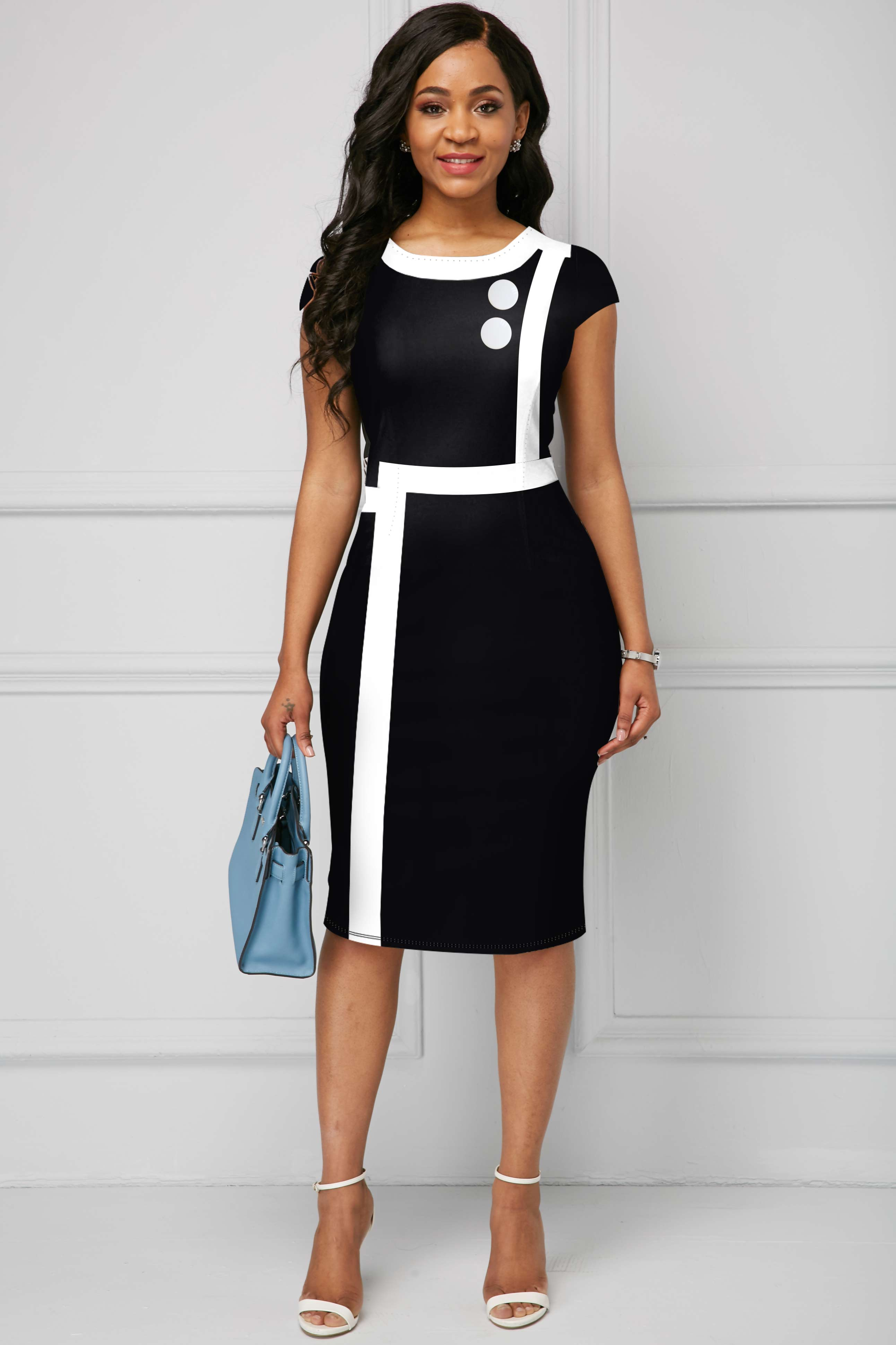 Contrast Piping Round Neck Short Sleeve Dress