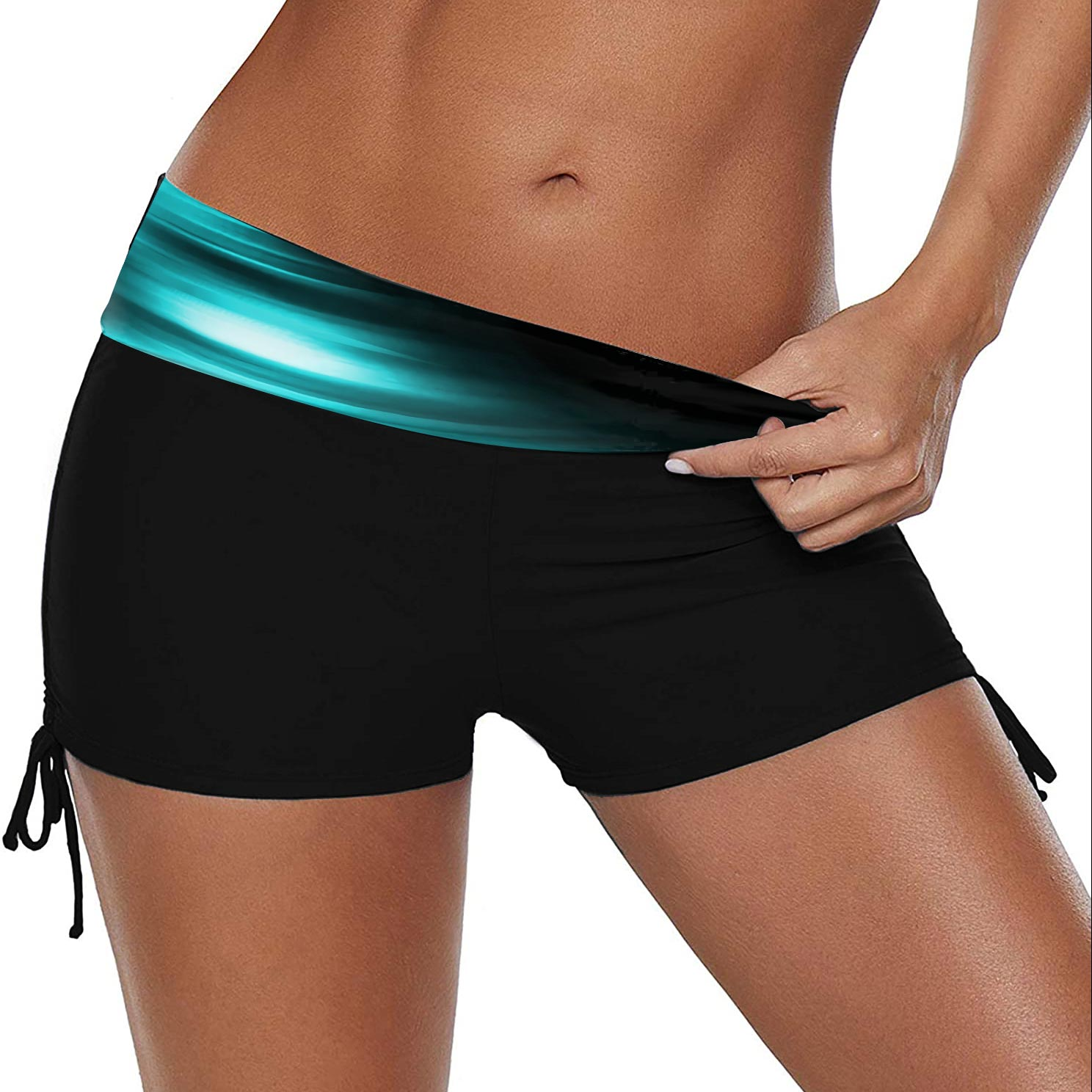 Drawstring Side Printed Mid Waist Swimwear Shorts