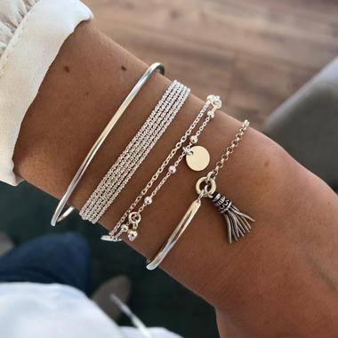 Multi Layer Tassel Silver Bracelet Set