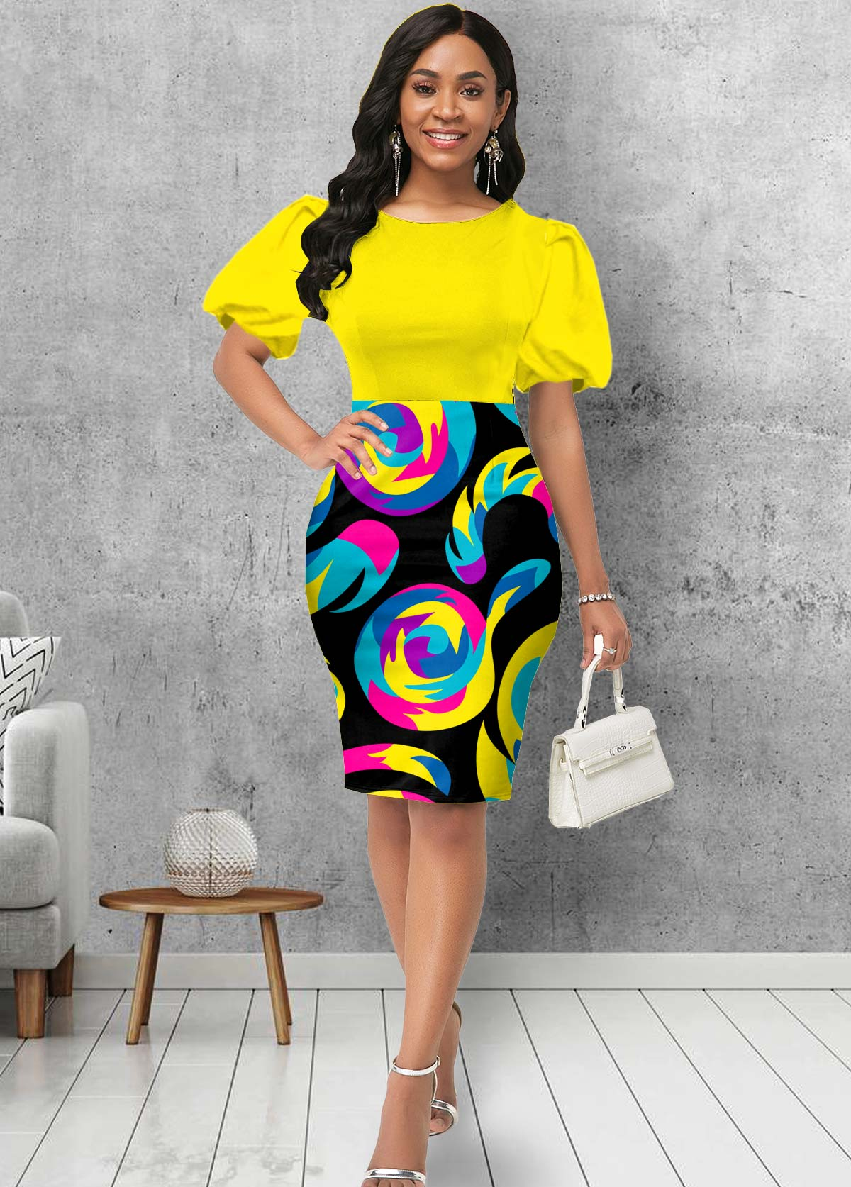 Puff Sleeve Geometric Print Round Neck Dress