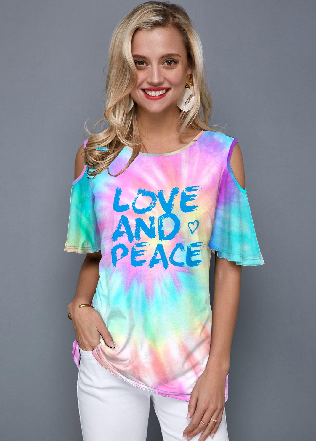Tie Dye Cold Shoulder Letter Print T Shirt