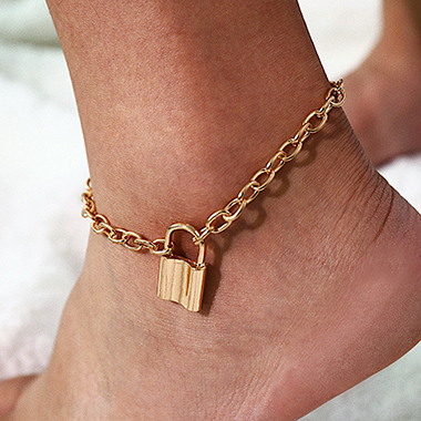 Gold Metal Lock Curb Chain Anklet
