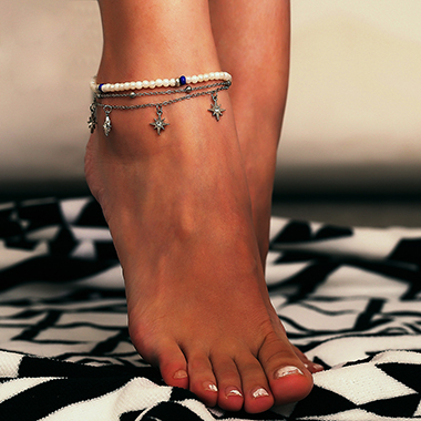 Silver Metal Star Shape Layered Anklet