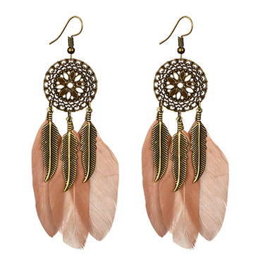Pink Feather Design Earring Set for Women