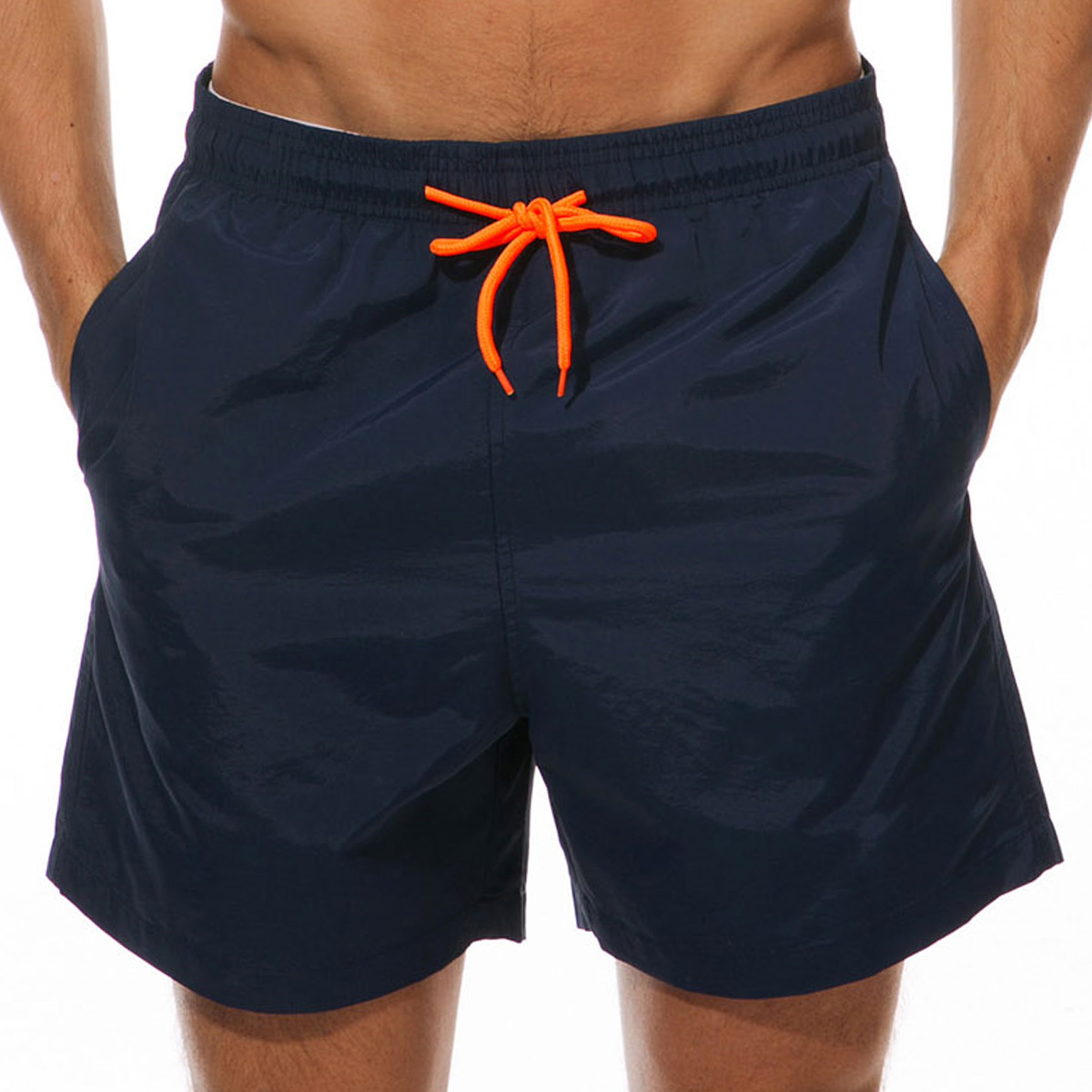 Mesh Liner Quick Dry Bermuda Drawstring Waist Men's Swim Trunks