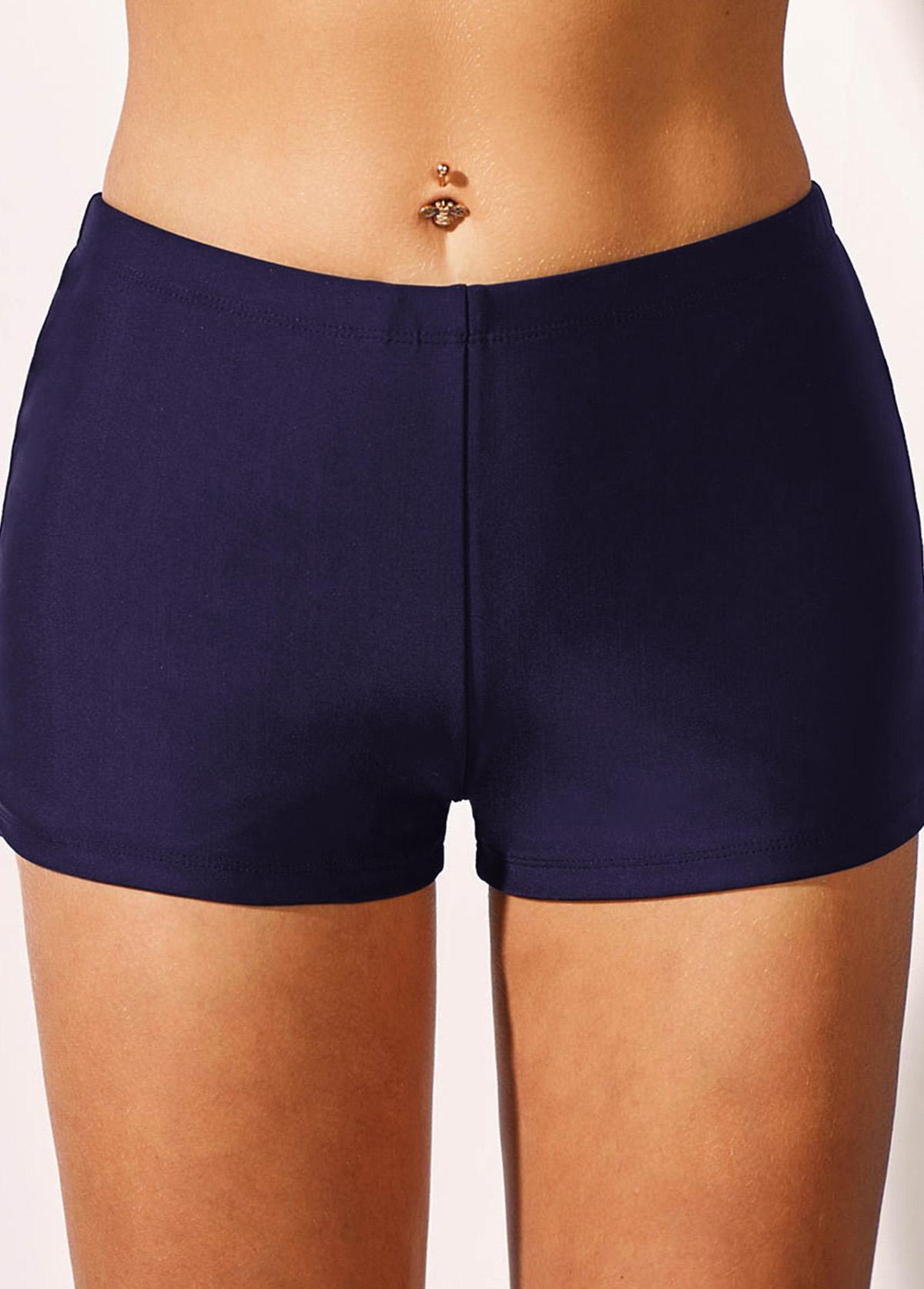 Navy Blue Mid Waist Swimwear Shorts