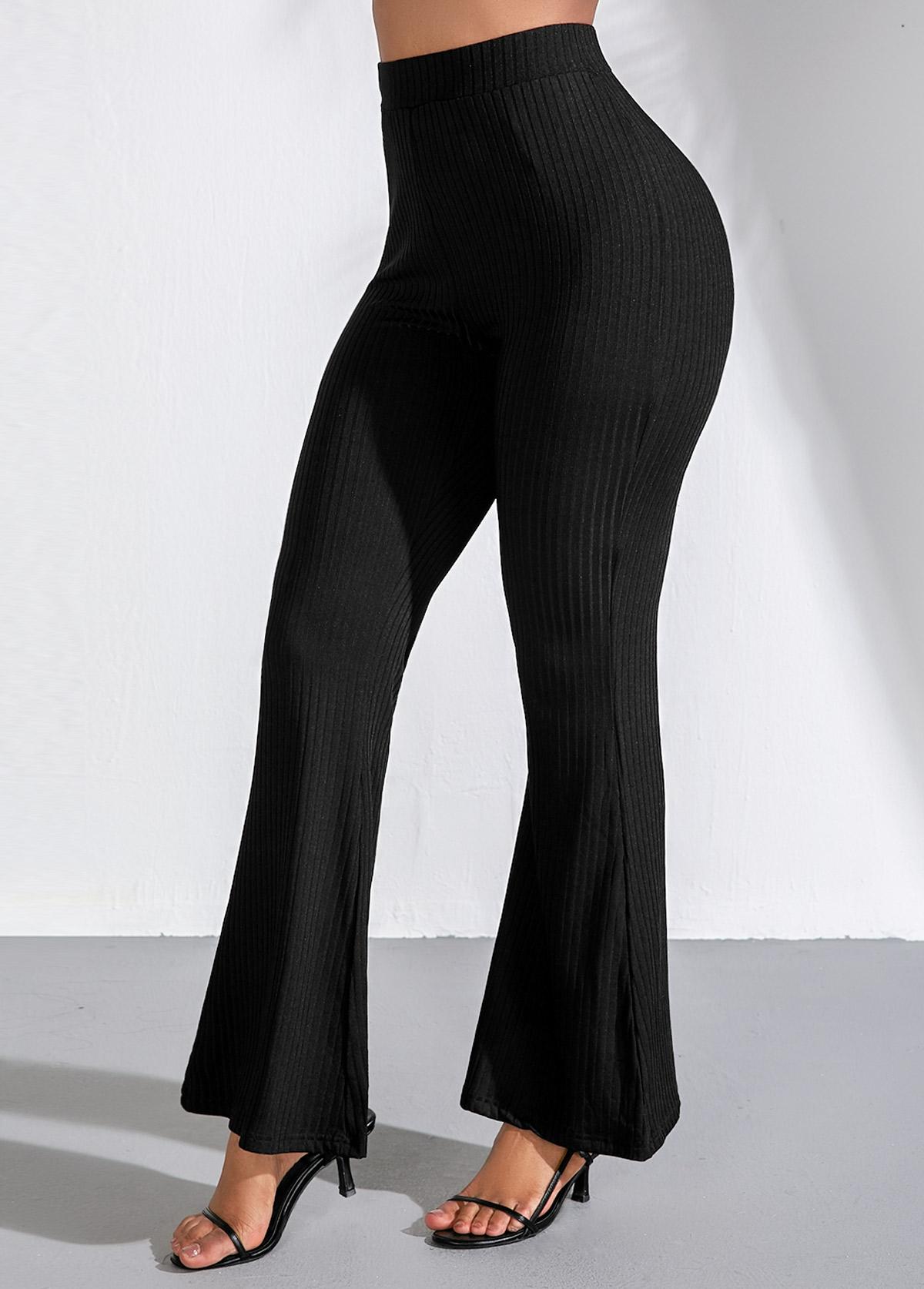 High Waist Black Elastic Flare Pants