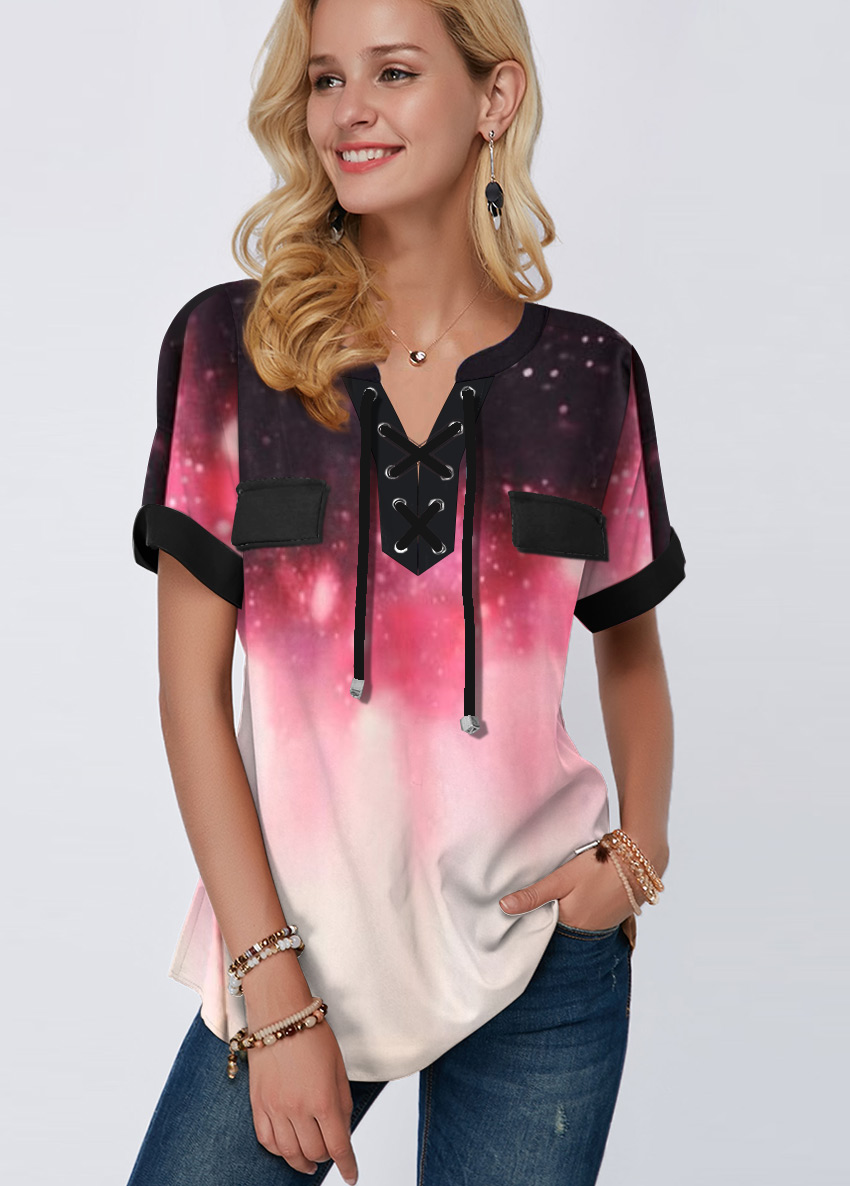 Gradient Lace Up Starry Night Print Blouse
