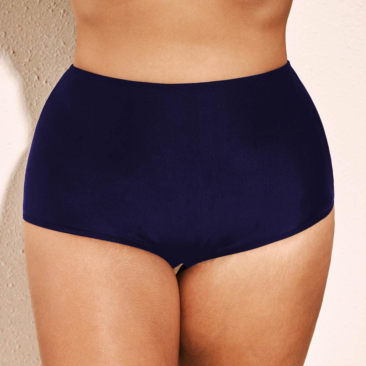 High Waist Navy Blue Plus Size Swimwear Panty