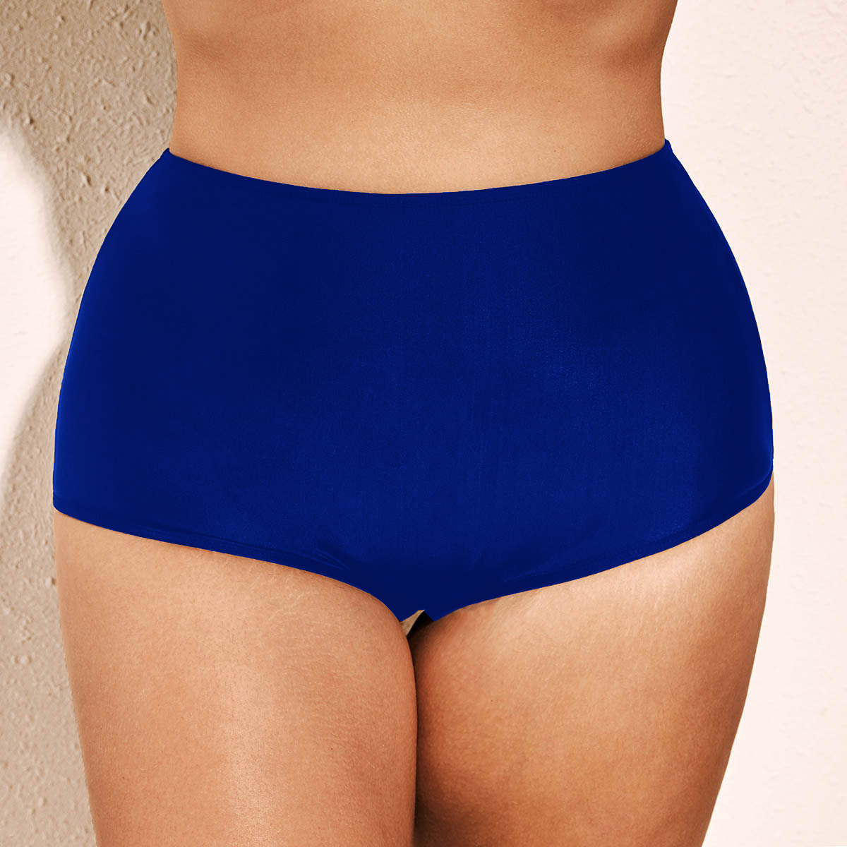 High Waist Blue Plus Size Swimwear Panty