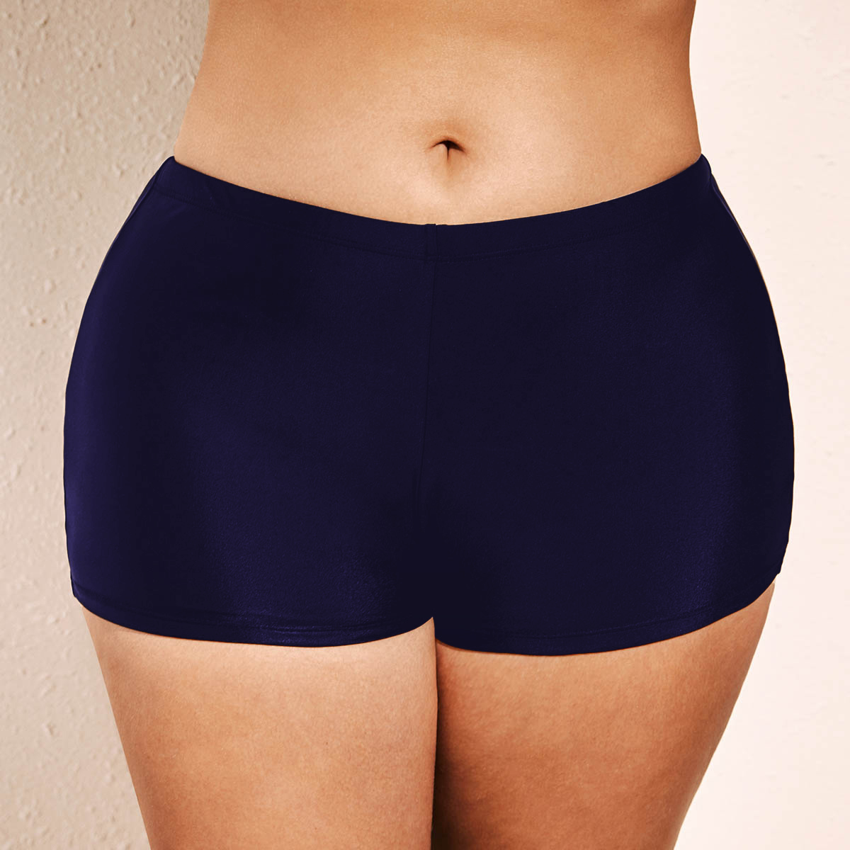 Mid Waist Navy Blue Plus Size Swimwear Shorts