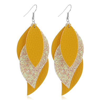Yellow Faux Leather Leaf Design Earrings
