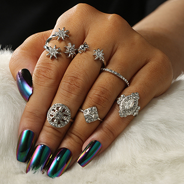 Silver Metal Rhinestone Star Shape Ring Set