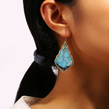Turquoise Decoration Teardrop Shaped Earrings Set