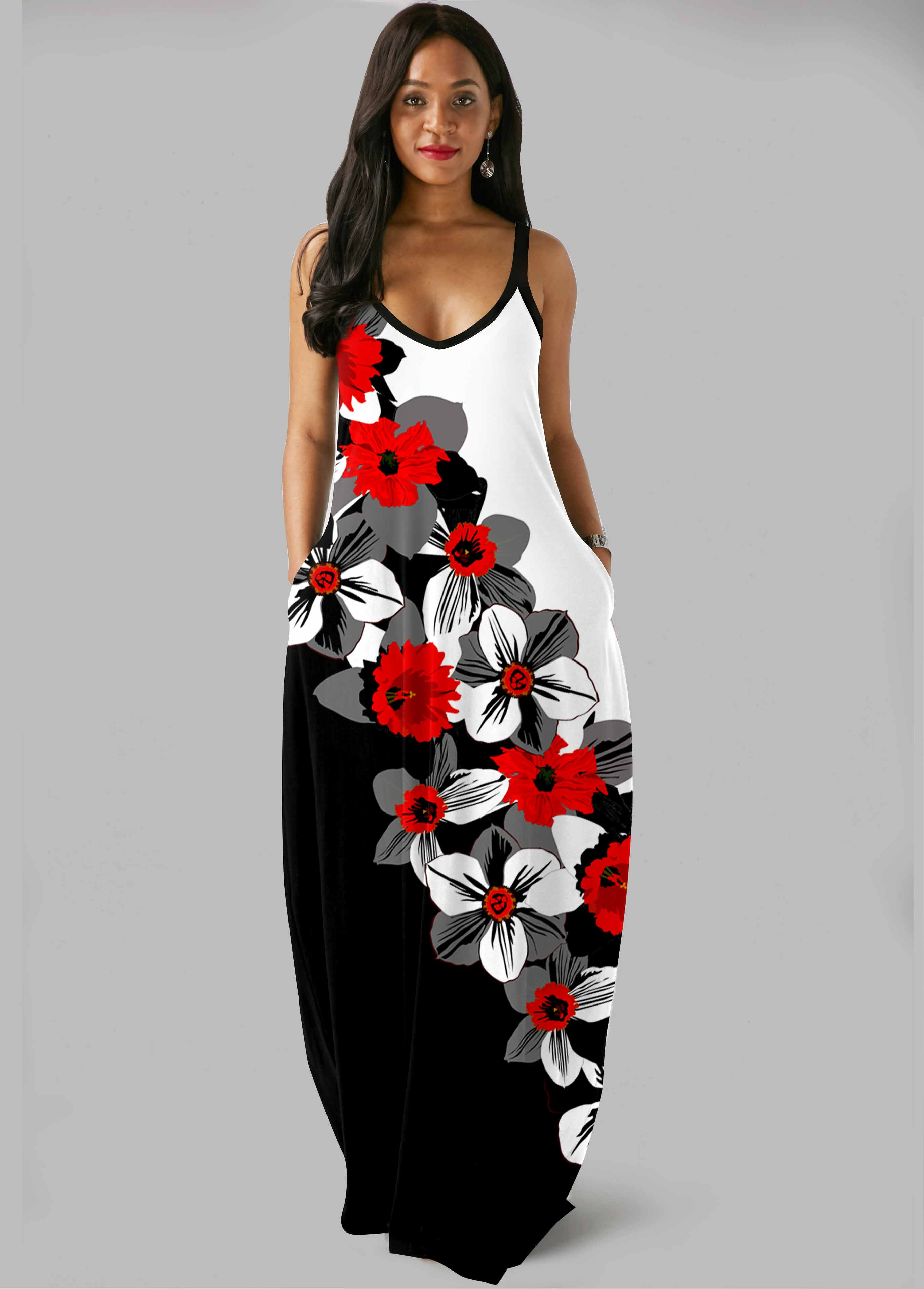 Color Block Floral Print Side Pocket Maxi Dress