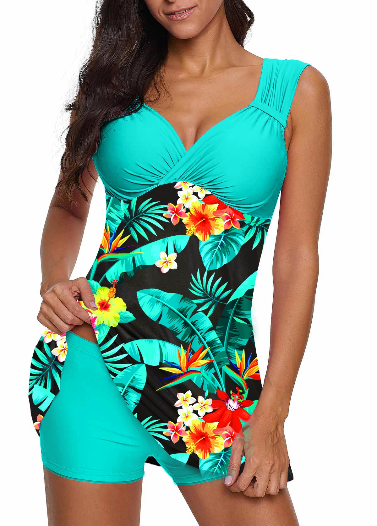 Tropical Print Wide Strap Swimdress and Shorts