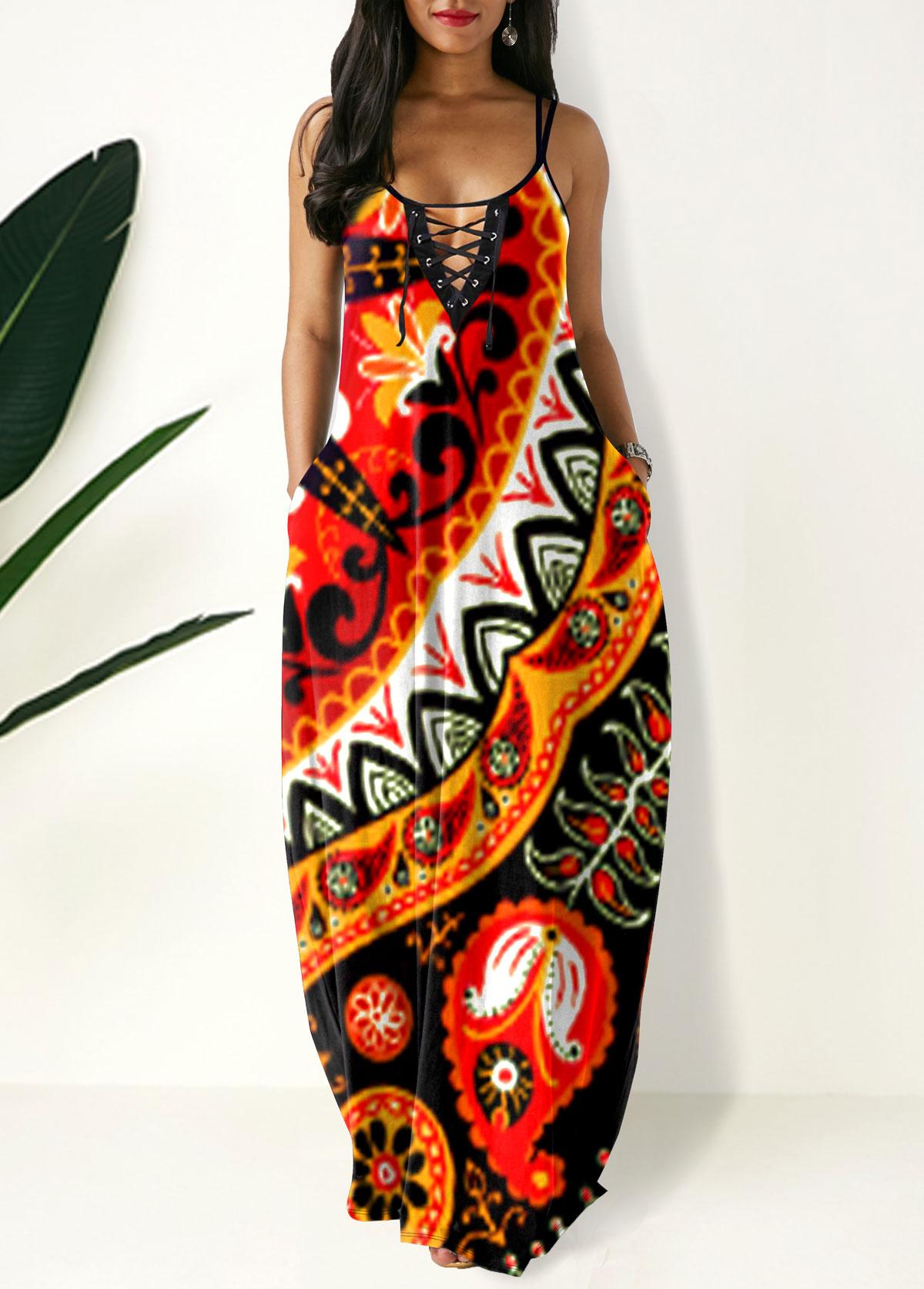 Tribal Print Spaghetti Strap Side Pocket Maxi Dress