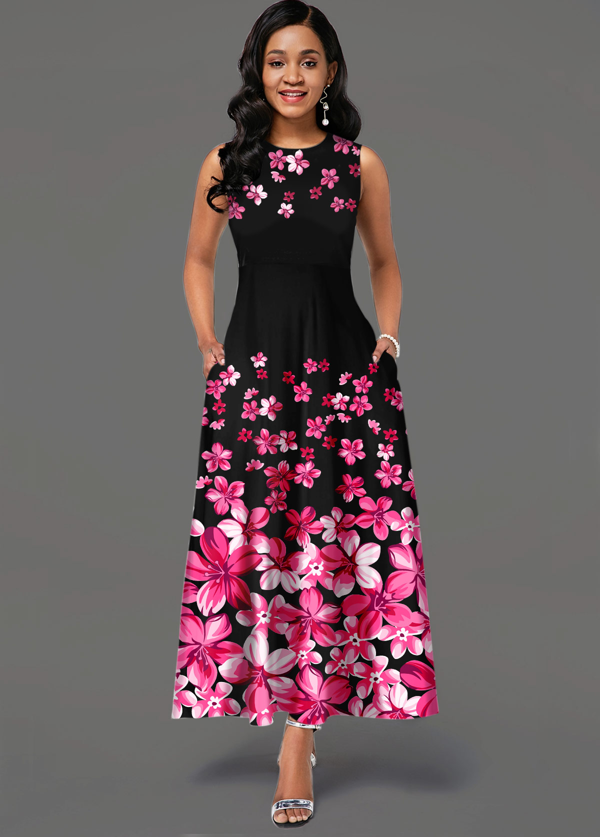 Floral Print Side Pocket Sleeveless Maxi Dress