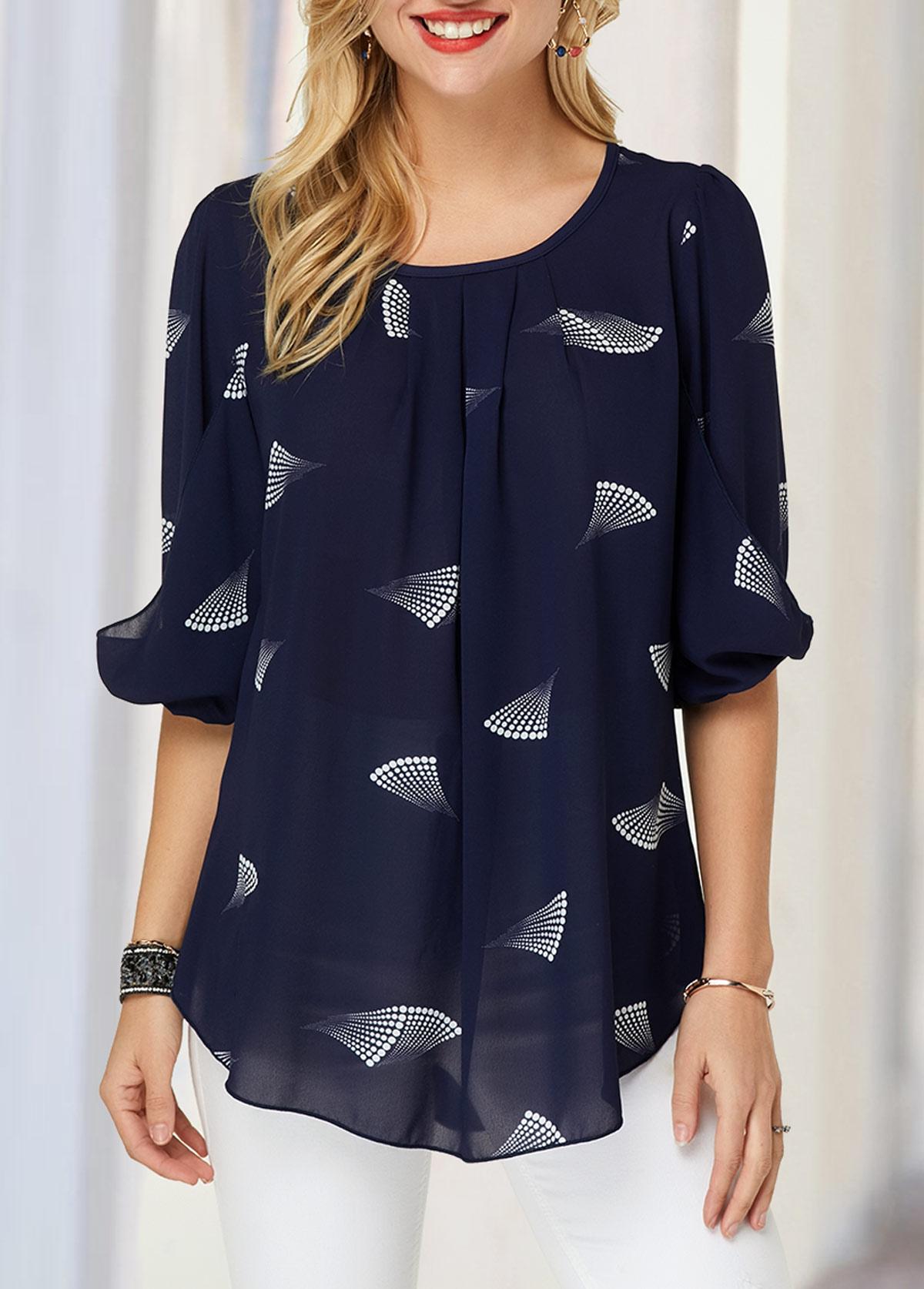 Printed Blouson Sleeve Navy Blue Blouse