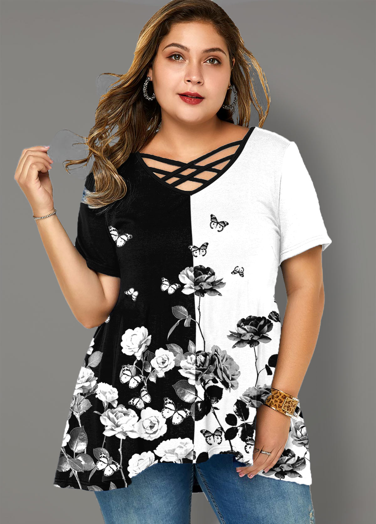 Plus Size Floral Print Cross Strap T Shirt