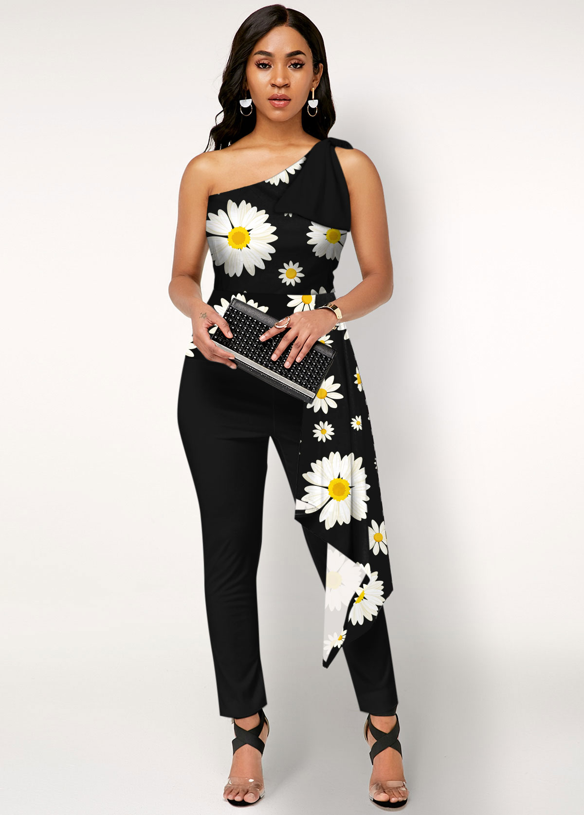 Daisy Print One Shoulder Overlay Jumpsuit