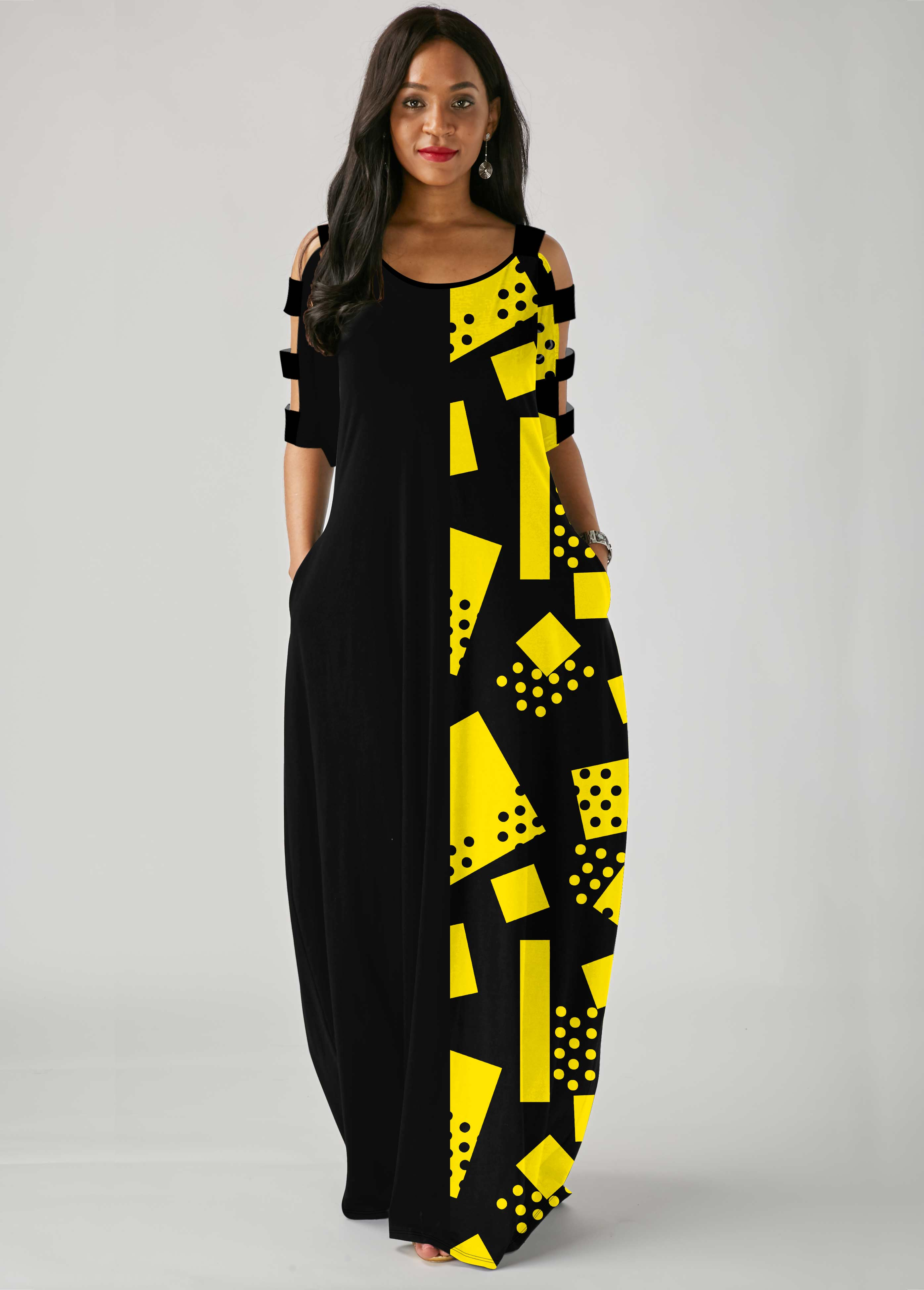 Geometric Print Ladder Cutout Sleeve Side Pocket Maxi Dress