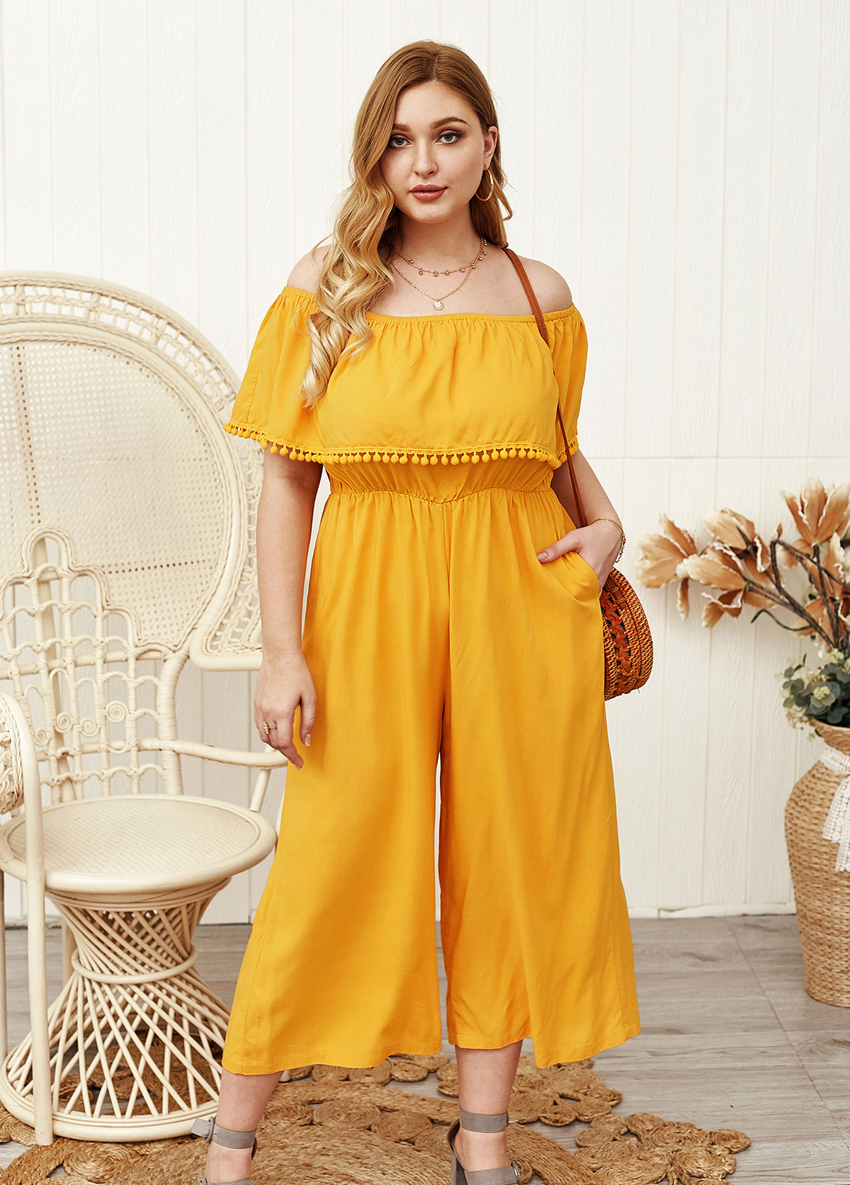 Plus Size Off the Shoulder Overlay Jumpsuit