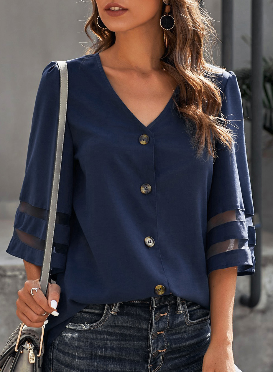 V Neck Button Up Flare Sleeve Blouse