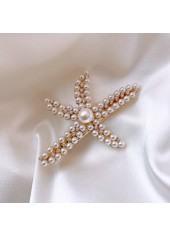 Star Shape Pearl Embellished White Hairpin