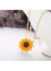 Sunflower Pendant Gold Metal Chain Necklace