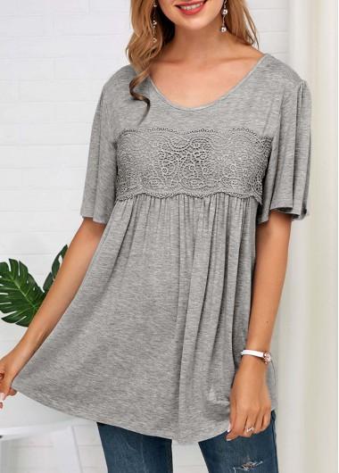 Lace Panel Grey Half Sleeve Soft T Shirt - L