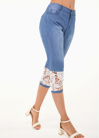 Lace Panel Contrast Design Denim Blue Jeans - L