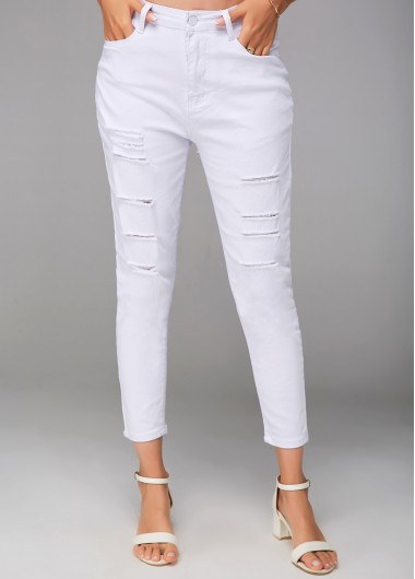 Shredded White Cropped Zipper Closure Pants - L