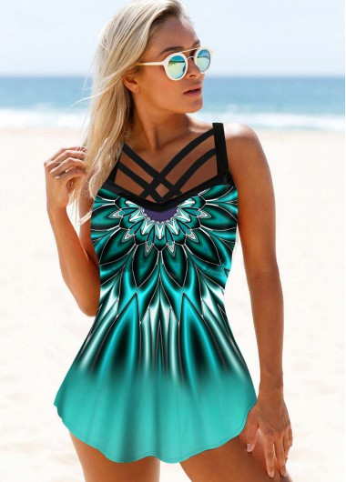Strappy Front Printed Swimdress and Panty - L