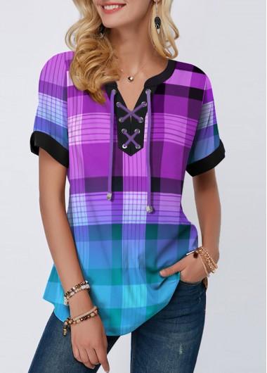 Plaid Print Lace Up Short Sleeve Blouse - L