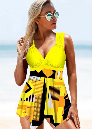 Yellow Geometric Print Wide Strap Swimdress and Panty - L