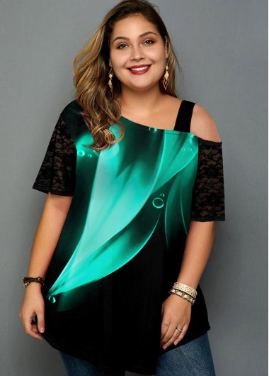 Plus Size Printed Lace Panel Mint Green T Shirt - 1X