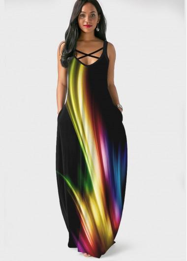 Printed Side Pocket Spaghetti Strap Maxi Dress - L