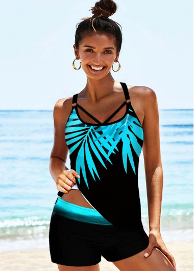 Tropical Print Strappy Back Tankini Set - L