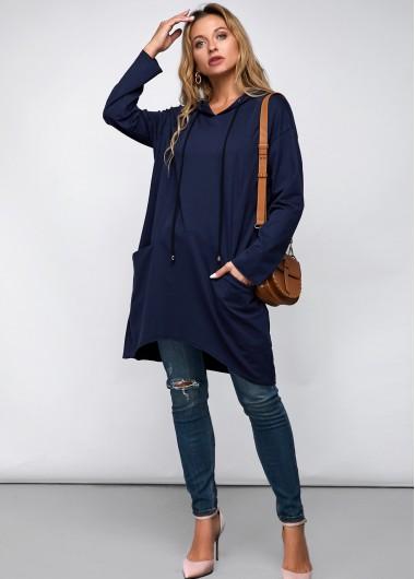 Casual Hooded Collar Long Sleeve Blue Navy Shirt - L
