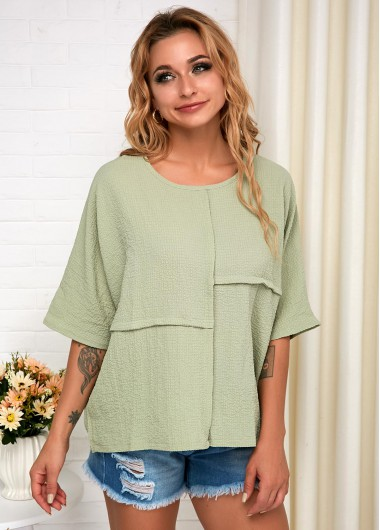 Soft Light Green Short Sleeve T Shirt - M