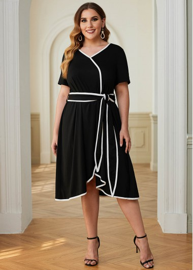 Plus Size Contrast Piping Belted Dress - 1X