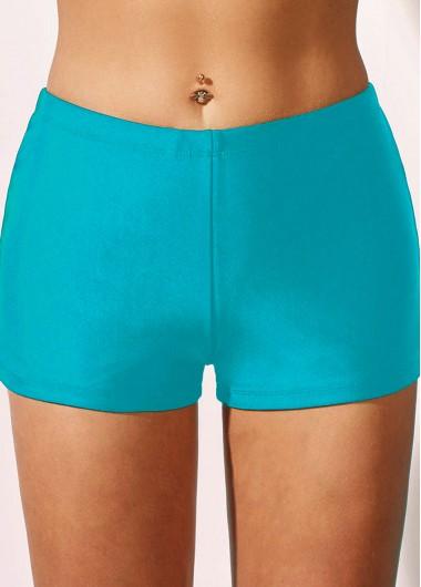 Sky Blue Mid Waist Swimwear Shorts - 10