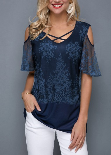 Cold Shoulder Lace Panel Cross Strap T Shirt - L