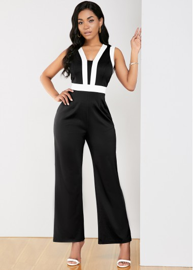 Contrast Piping Sleeveless Black Pocket Jumpsuit - M