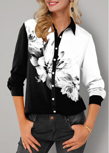 Floral Print Button Up Turndown Collar Blouse - L