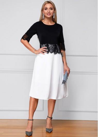 Color Block Lace Panel Half Sleeve Dress - L